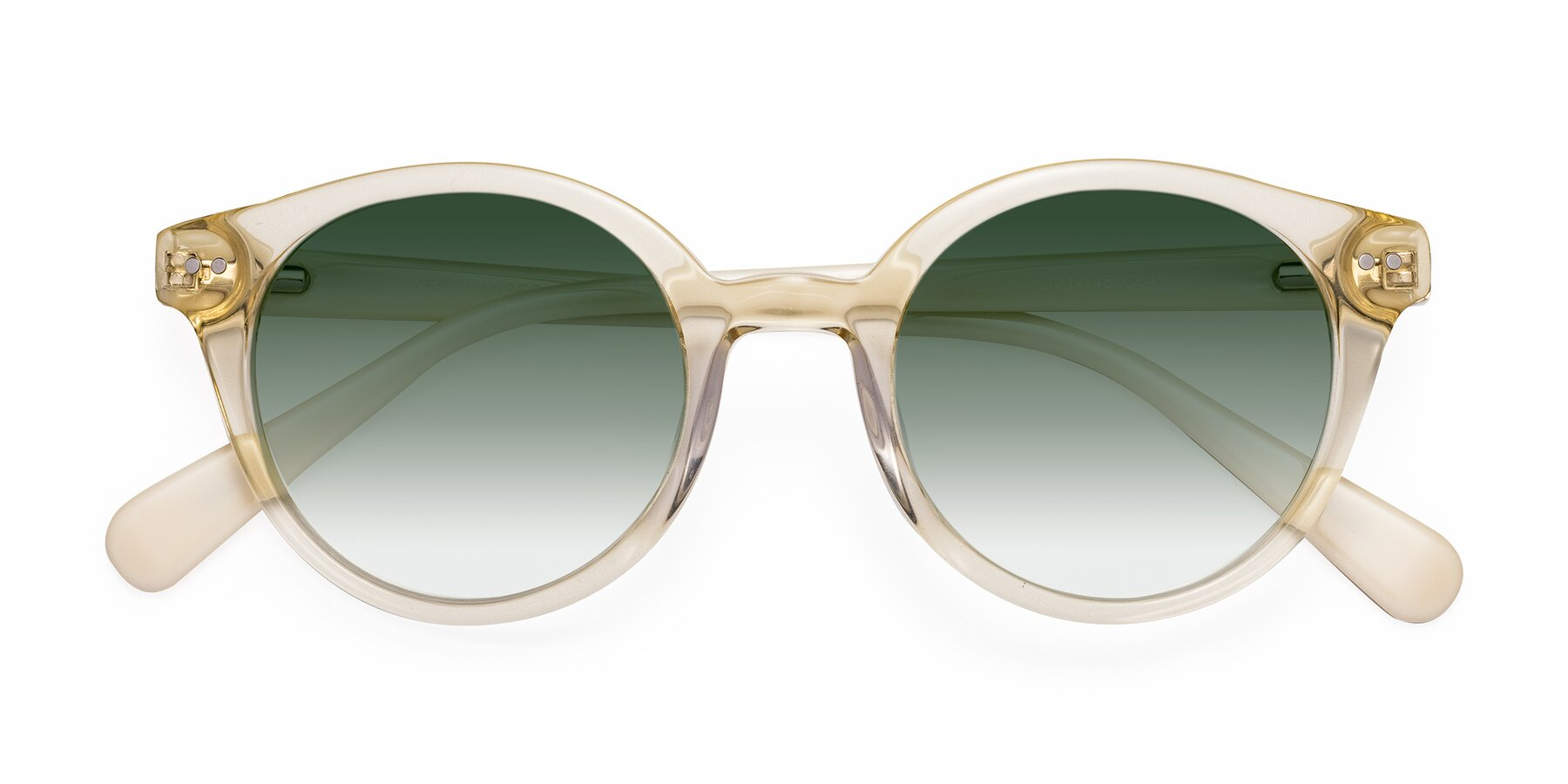 Folded Front of 17277 in Transparent Beige with Green Gradient Lenses