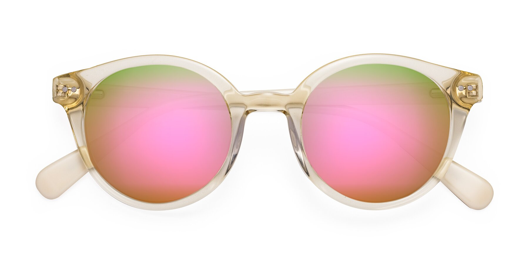 Folded Front of 17277 in Transparent Beige with Pink Mirrored Lenses