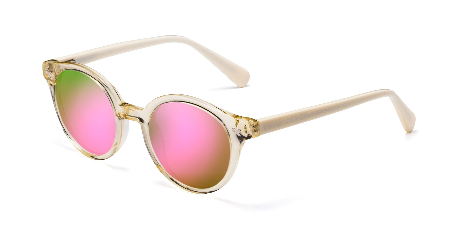 Angle of 17277 in Transparent Beige with Pink Mirrored Lenses