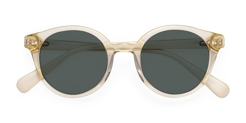 Transparent Beige Narrow Horn-Rimmed Round Polarized Sunglasses With Gray Sunwear Lenses