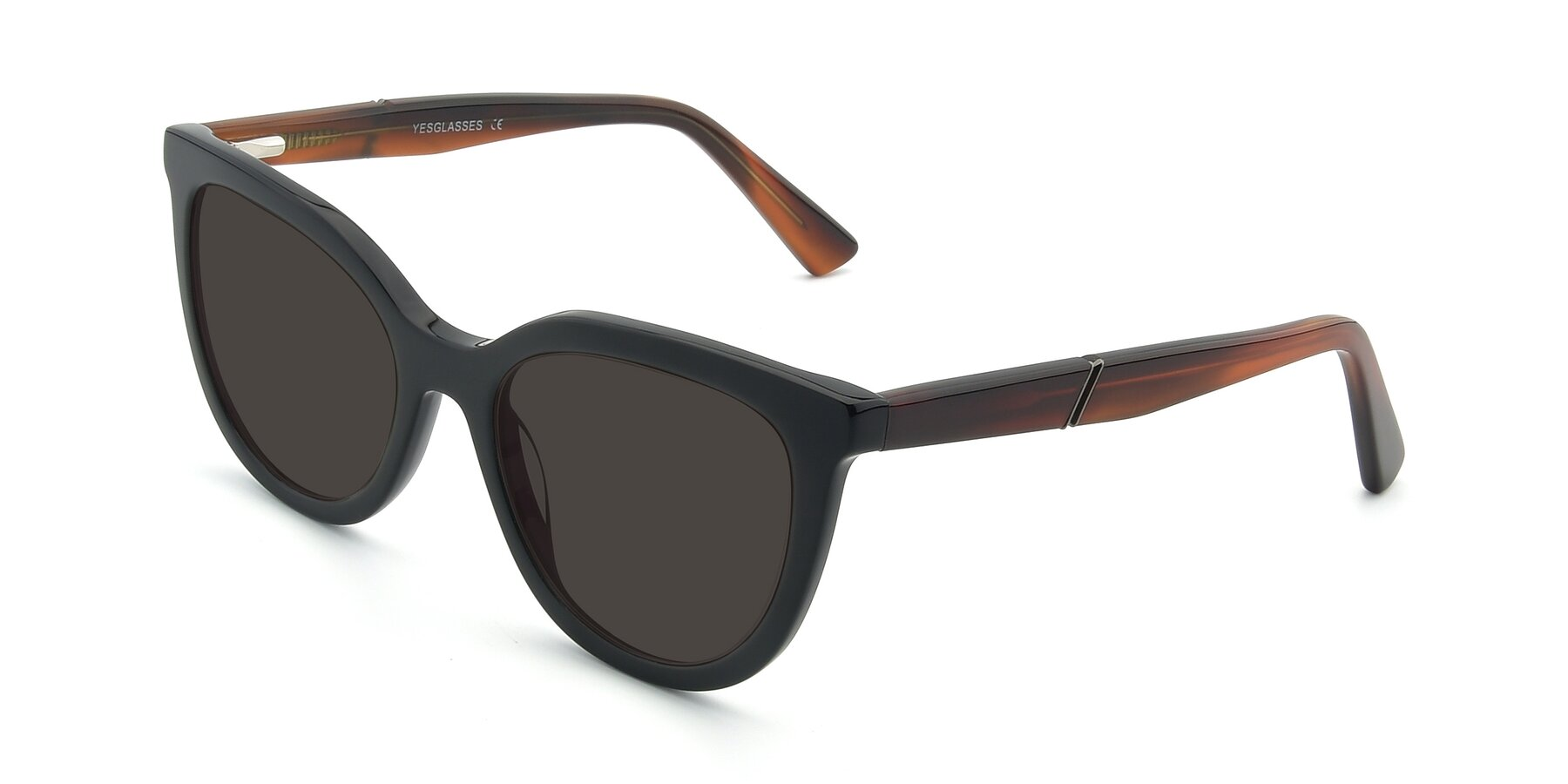 Angle of 17287 in Black with Gray Tinted Lenses