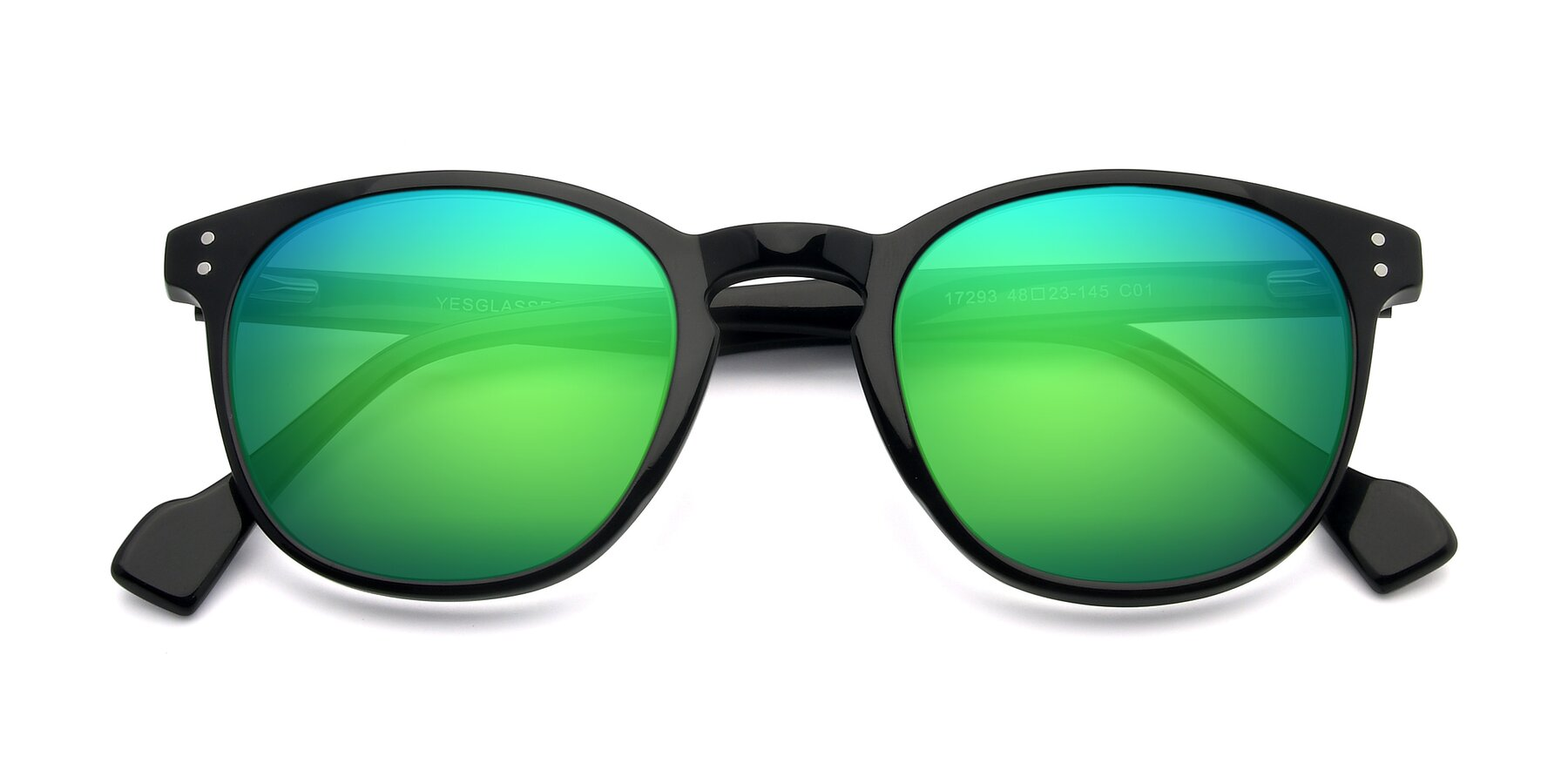 Folded Front of 17293 in Black with Green Mirrored Lenses