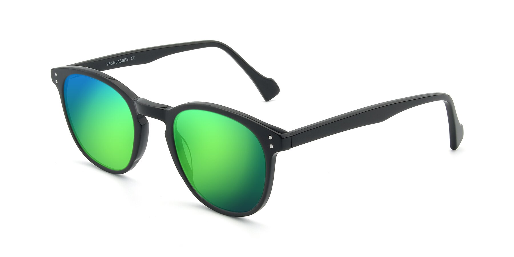 Angle of 17293 in Black with Green Mirrored Lenses