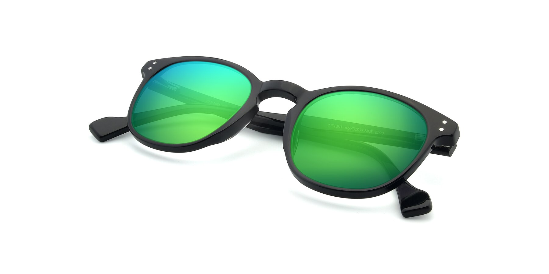 View of 17293 in Black with Green Mirrored Lenses