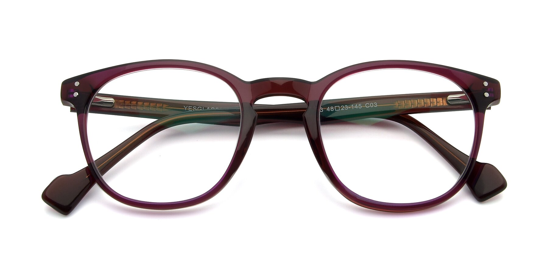 Folded Front of 17293 in Violet with Clear Eyeglass Lenses
