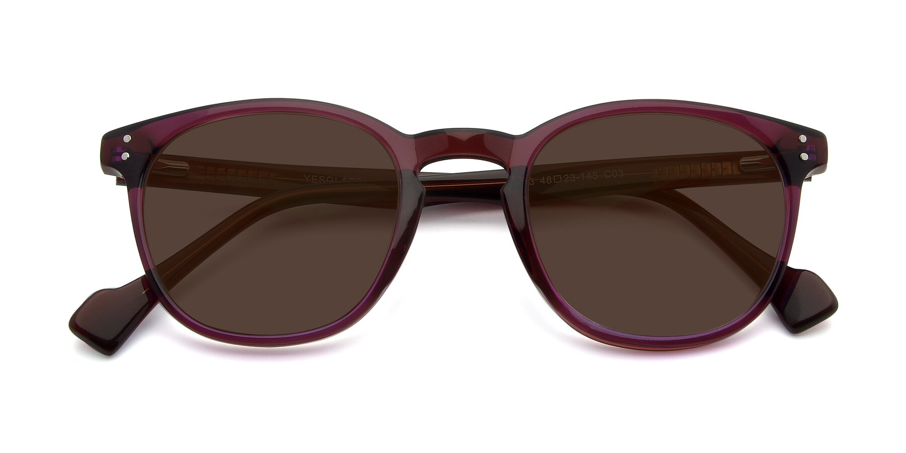 Folded Front of 17293 in Violet with Brown Tinted Lenses