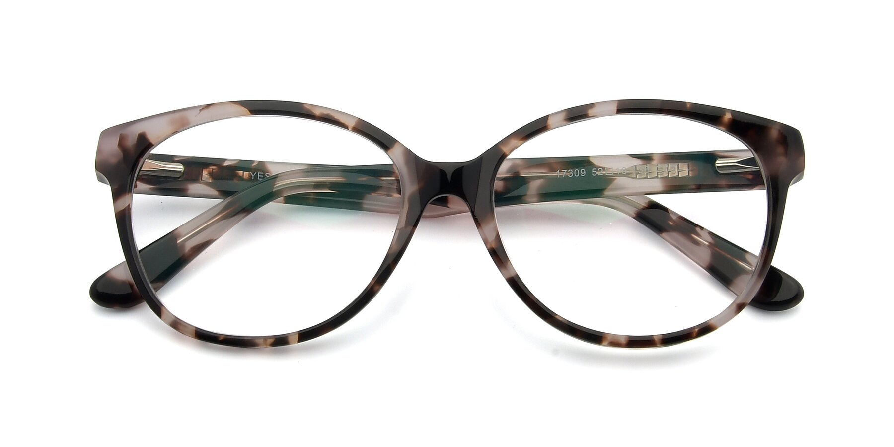 Folded Front of 17309 in Tortoise Honey with Clear Eyeglass Lenses