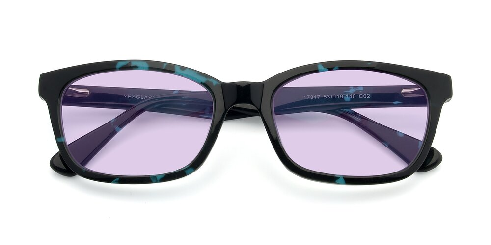 Floral Blue Geek-Chic Acetate Rectangle Tinted Sunglasses With Light Purple Sunwear Lenses