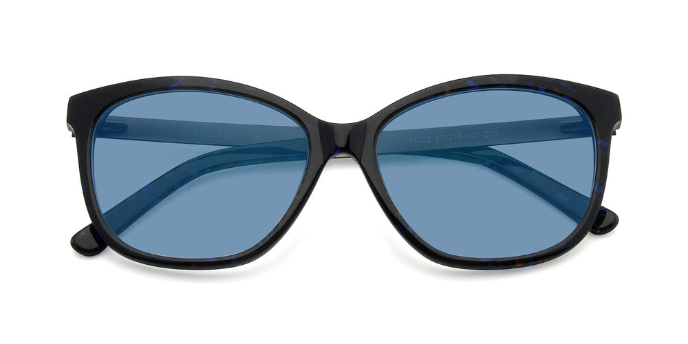 Floral Black Spring Hinges Butterfly Full-Rim Tinted Sunglasses With Medium Blue Sunwear Lenses