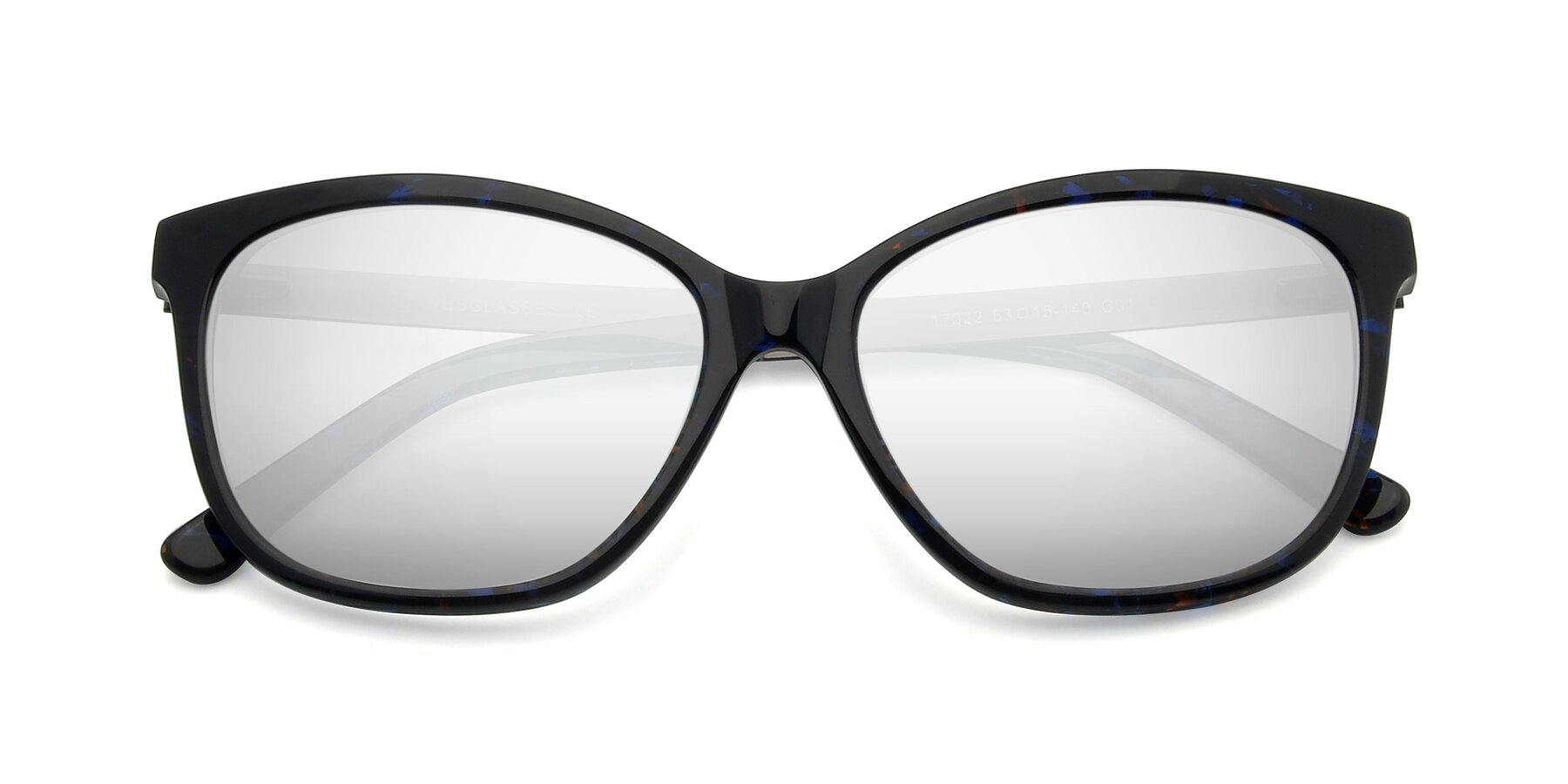 Folded Front of 17322 in Floral Black with Silver Mirrored Lenses