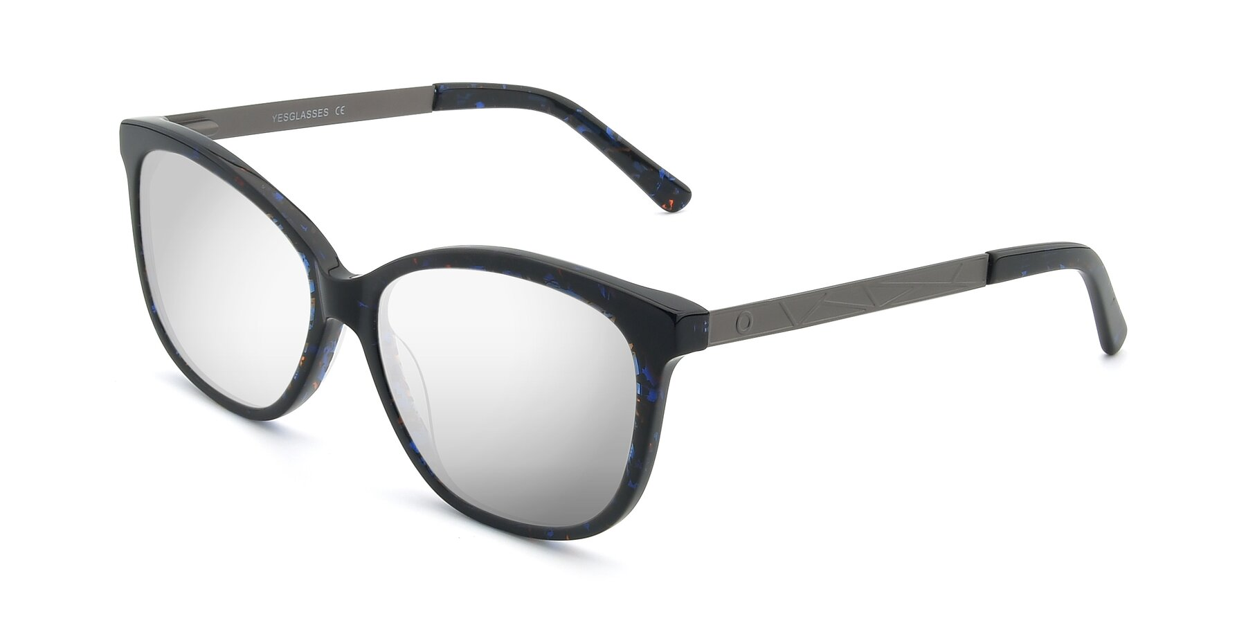 Angle of 17322 in Floral Black with Silver Mirrored Lenses