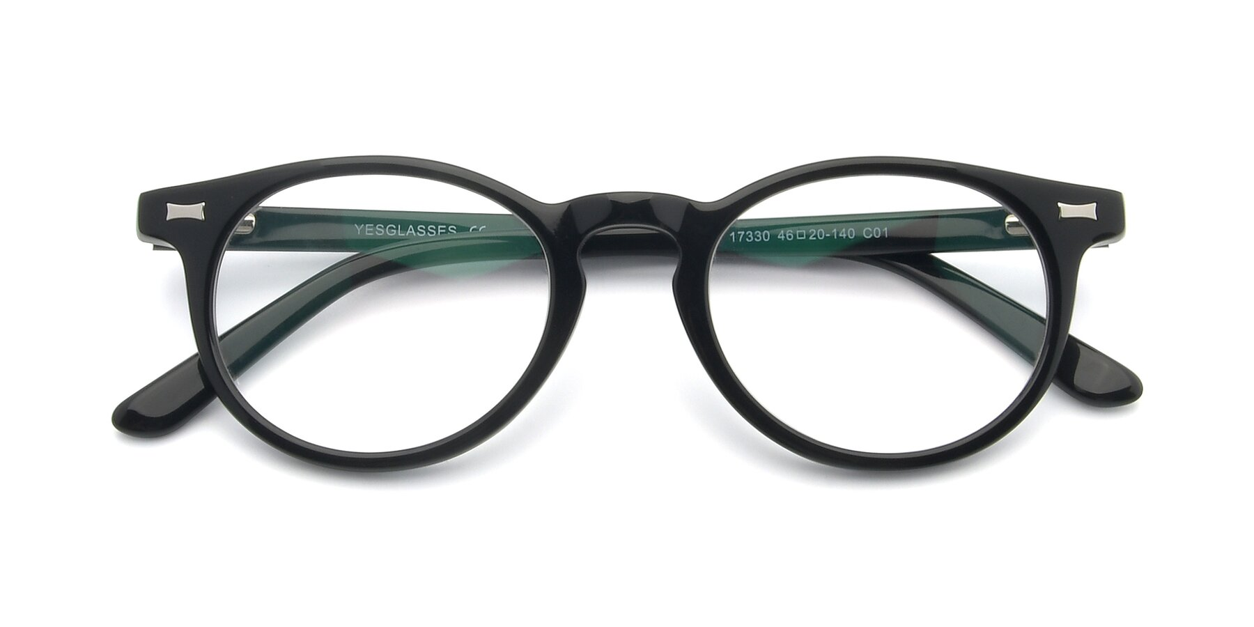 Folded Front of 17330 in Black with Clear Eyeglass Lenses