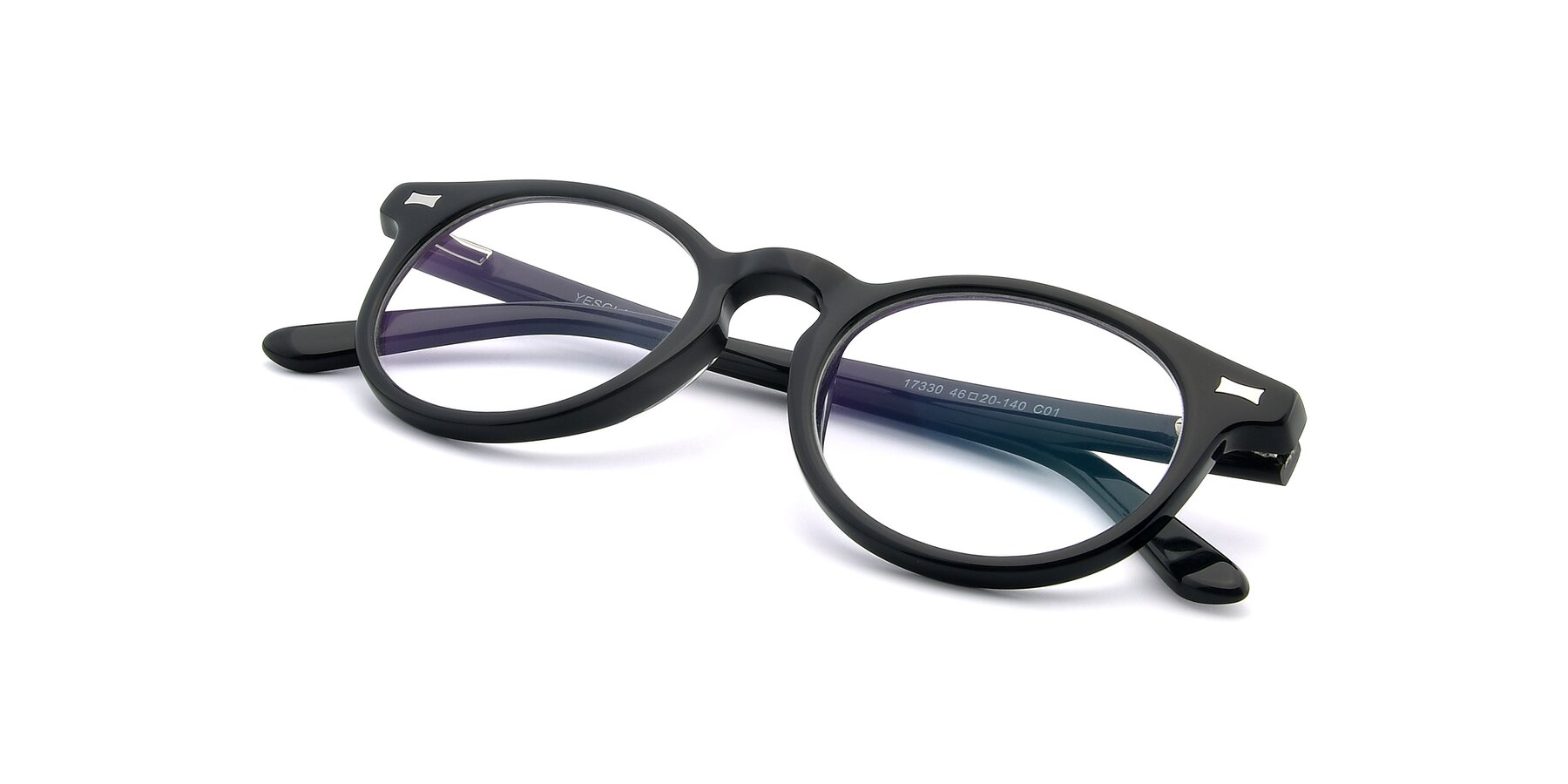 View of 17330 in Black with Clear Eyeglass Lenses