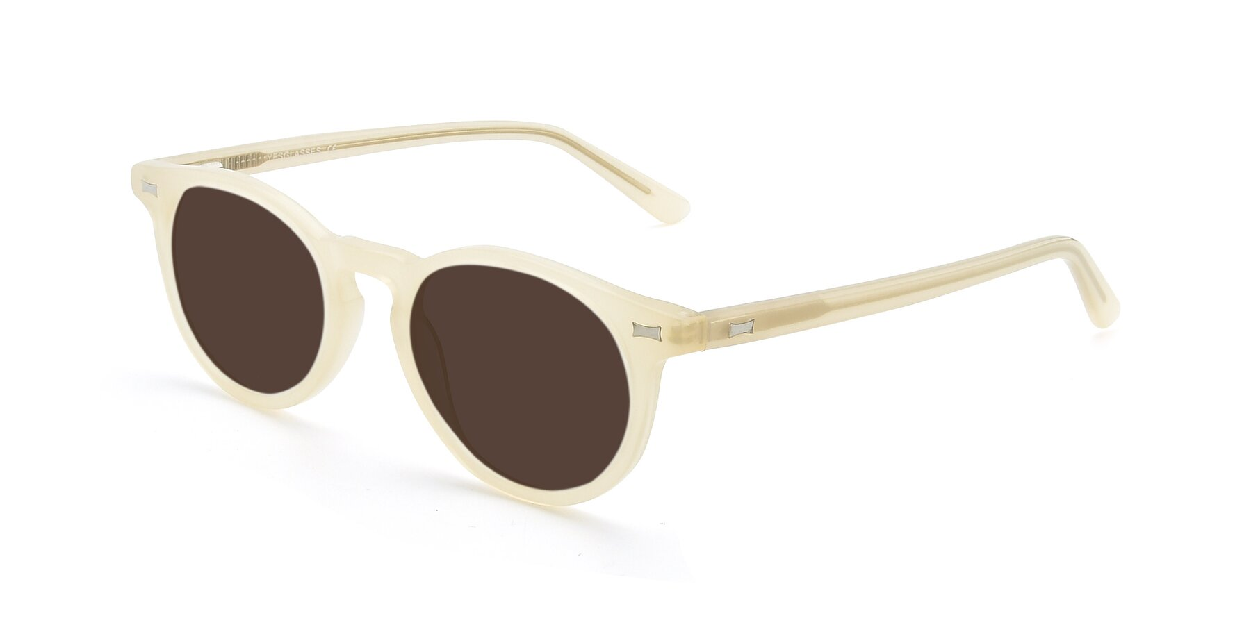 Angle of 17330 in Beige with Brown Tinted Lenses
