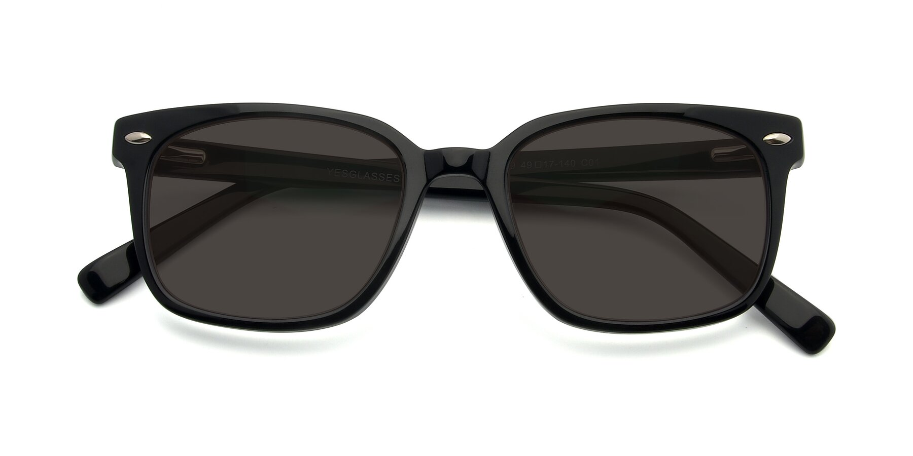 Folded Front of 17349 in Black with Gray Tinted Lenses