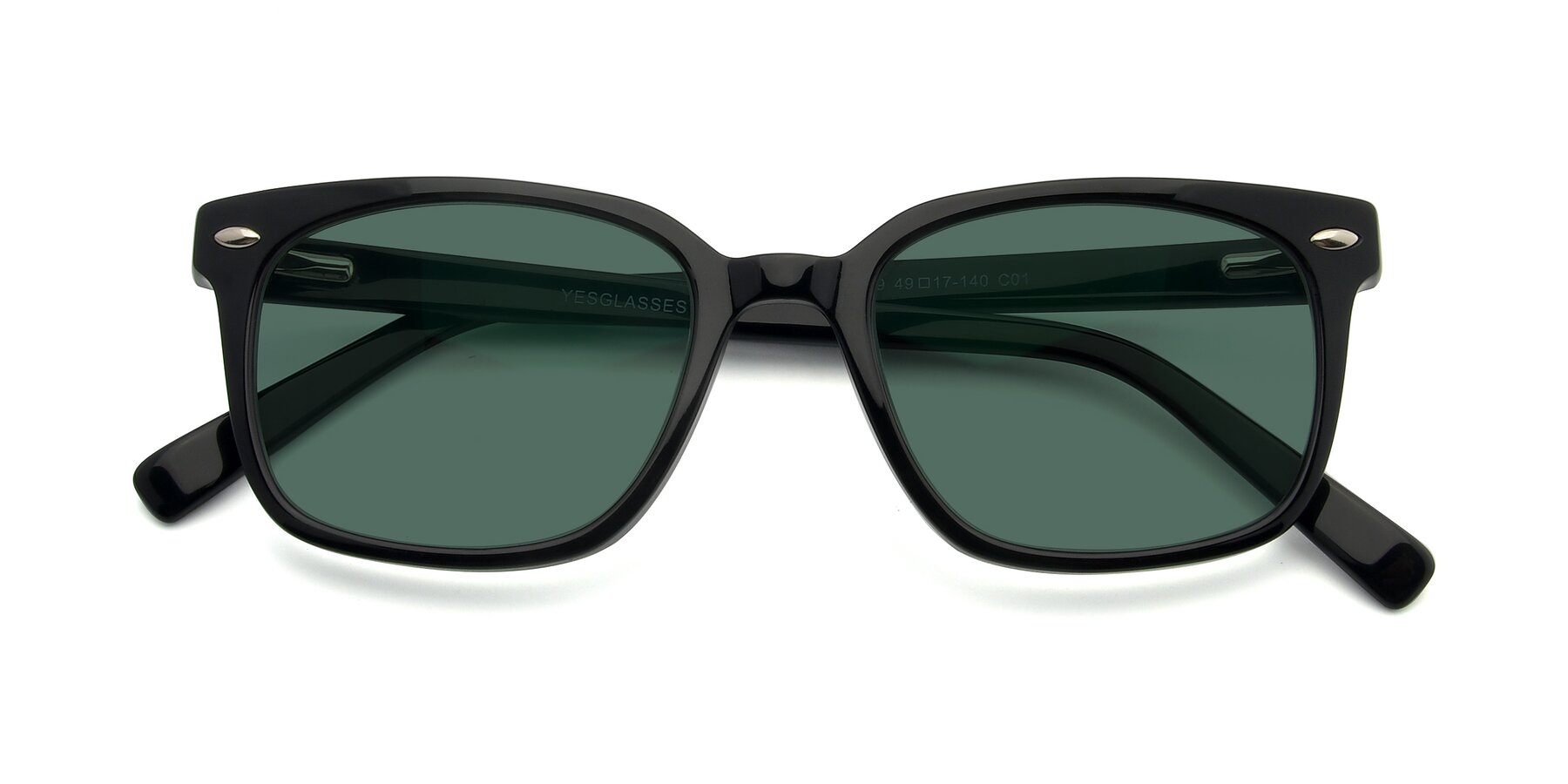 Folded Front of 17349 in Black with Green Polarized Lenses