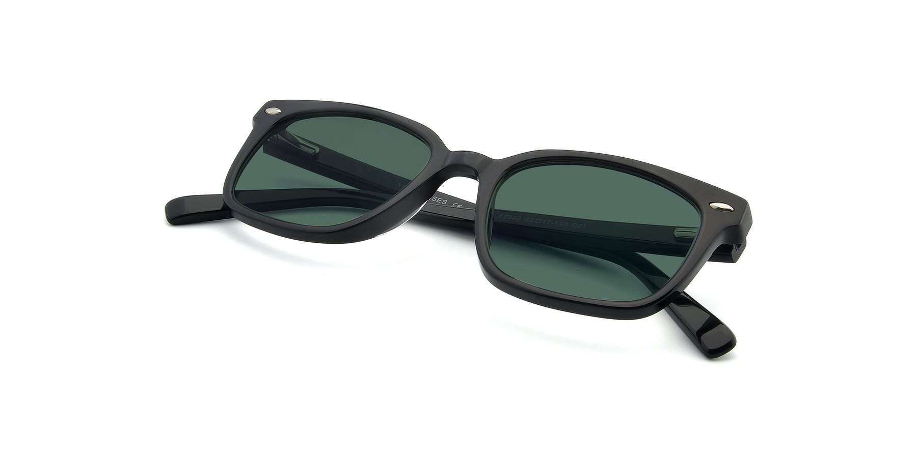 View of 17349 in Black with Green Polarized Lenses
