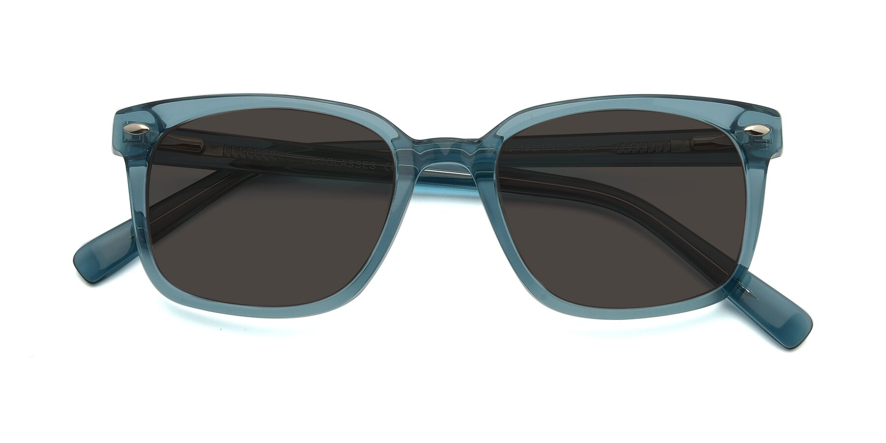 Folded Front of 17349 in Transparent Cyan with Gray Tinted Lenses