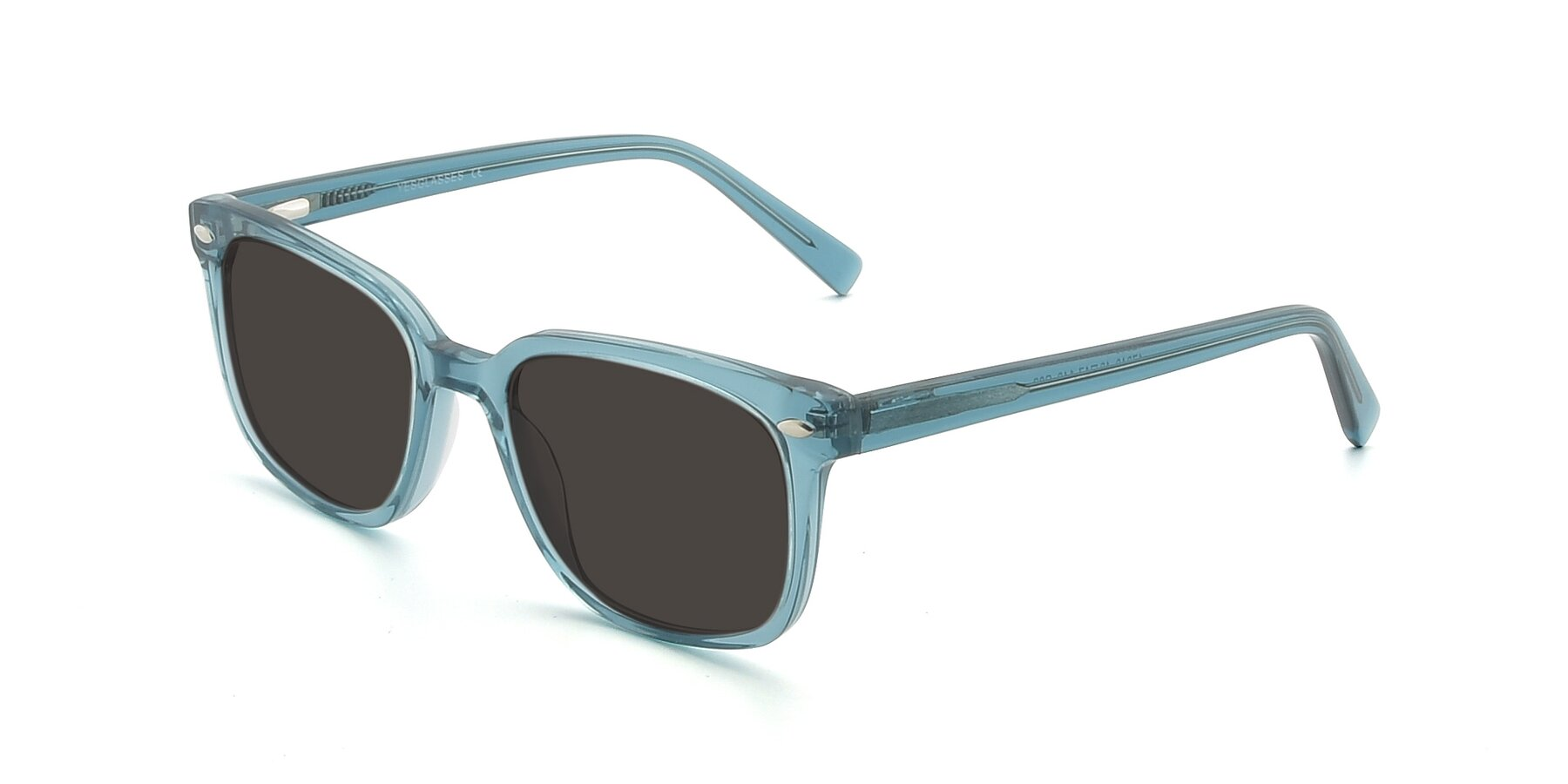 Angle of 17349 in Transparent Cyan with Gray Tinted Lenses