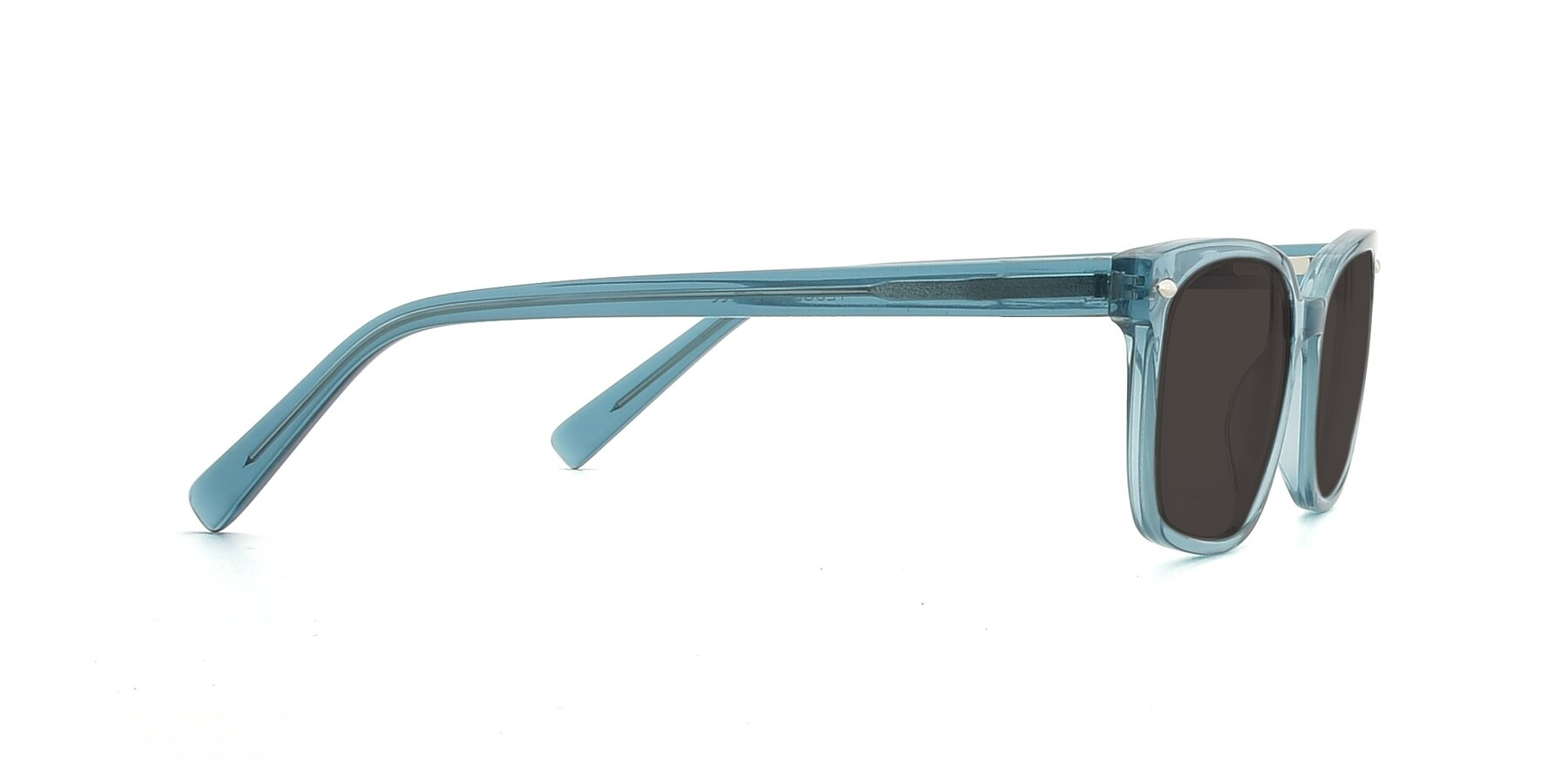 Side of 17349 in Transparent Cyan with Gray Tinted Lenses