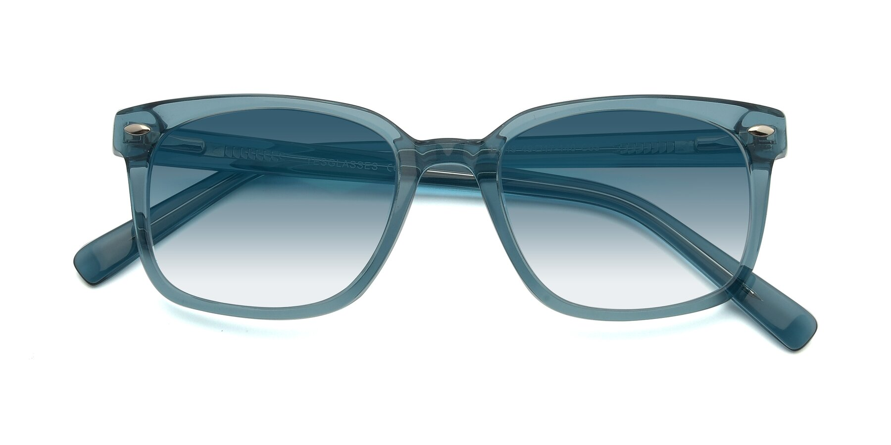Folded Front of 17349 in Transparent Cyan with Blue Gradient Lenses