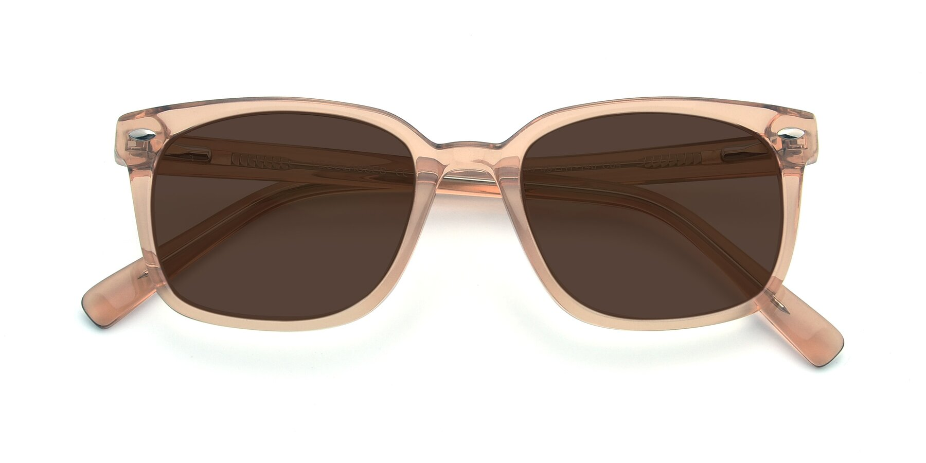 Folded Front of 17349 in Transparent Caramel with Brown Tinted Lenses