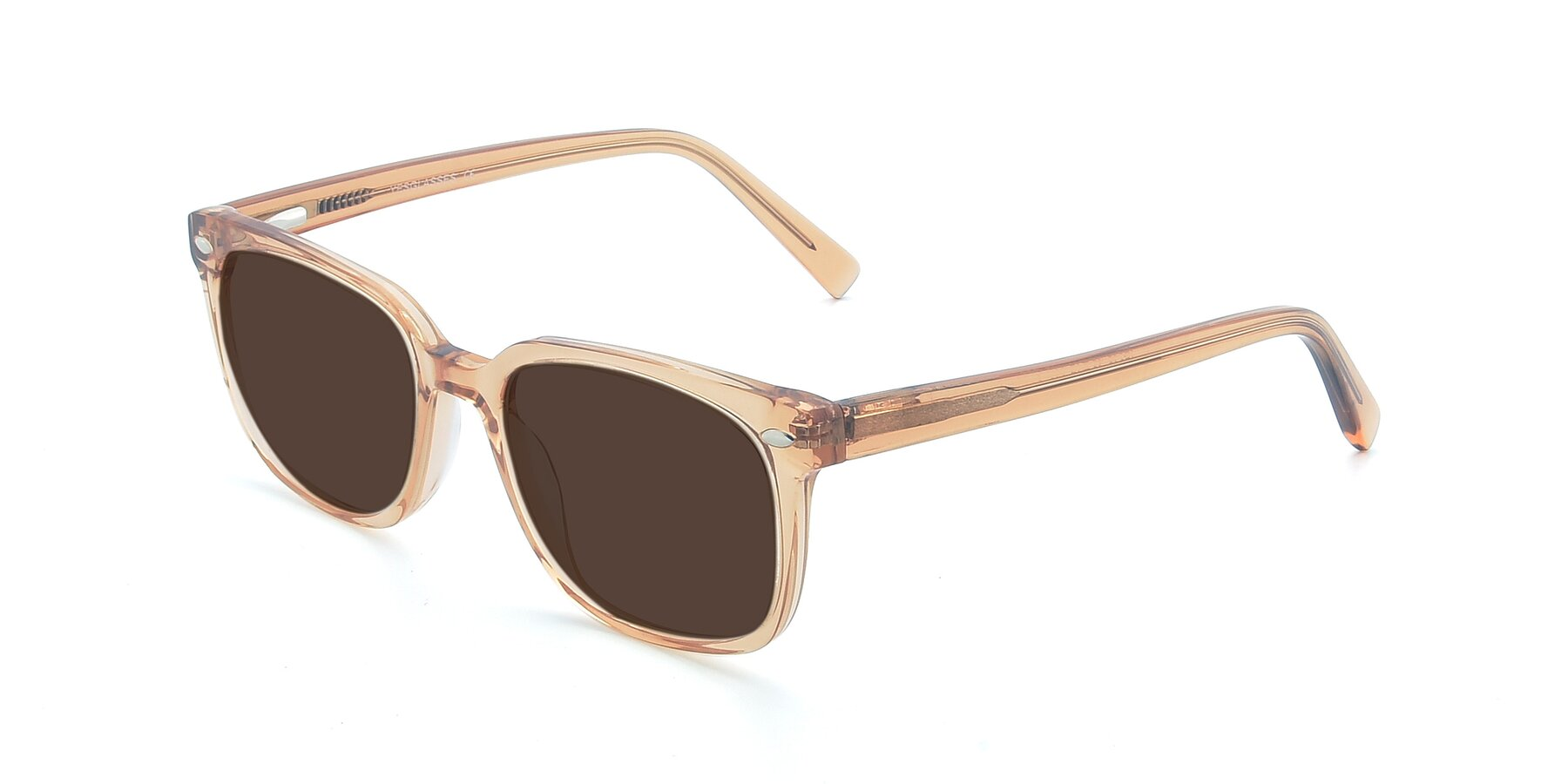 Angle of 17349 in Transparent Caramel with Brown Tinted Lenses