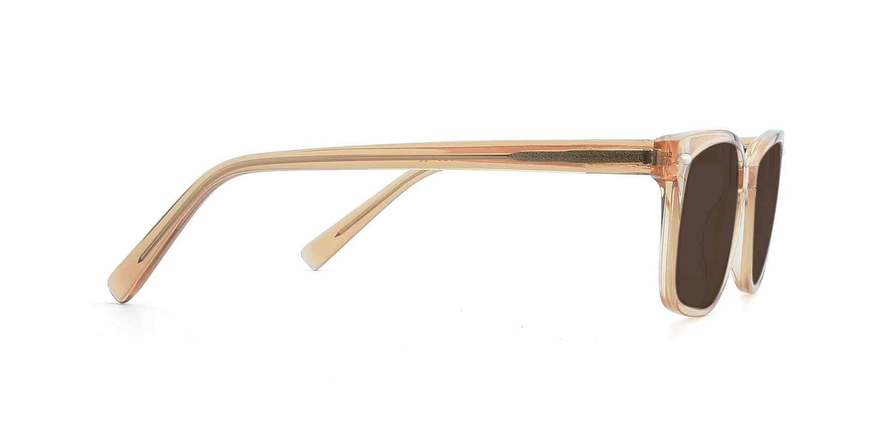Side of 17349 in Transparent Caramel with Brown Tinted Lenses