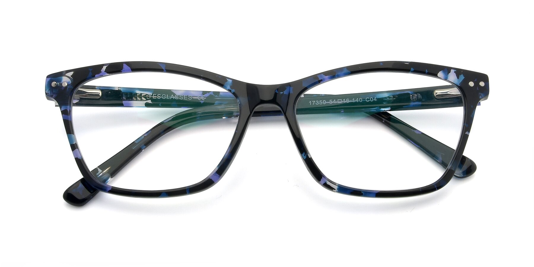 Folded Front of 17350 in Tortoise Blue with Clear Eyeglass Lenses