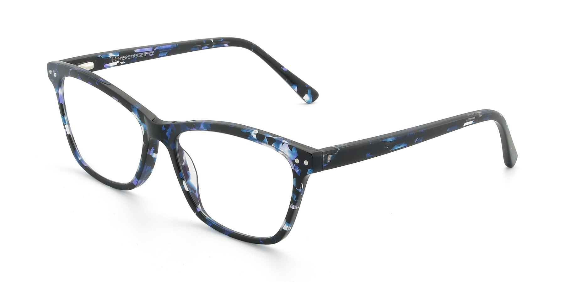 Angle of 17350 in Tortoise Blue with Clear Eyeglass Lenses