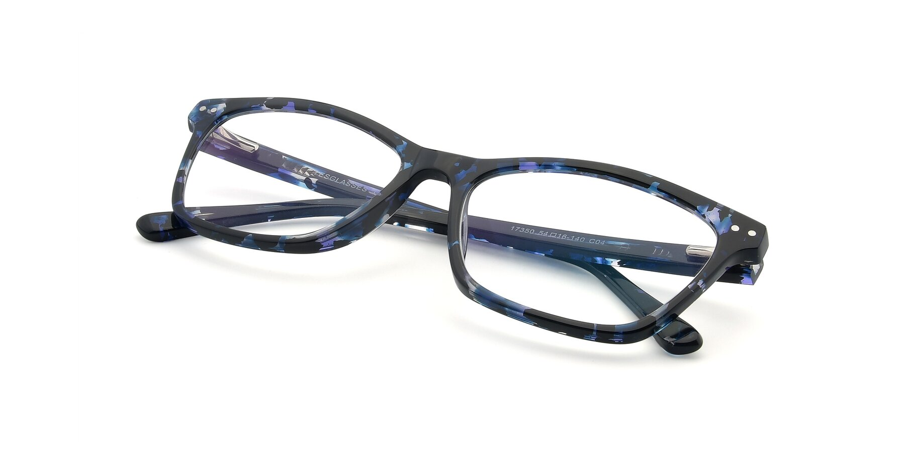 View of 17350 in Tortoise Blue with Clear Eyeglass Lenses