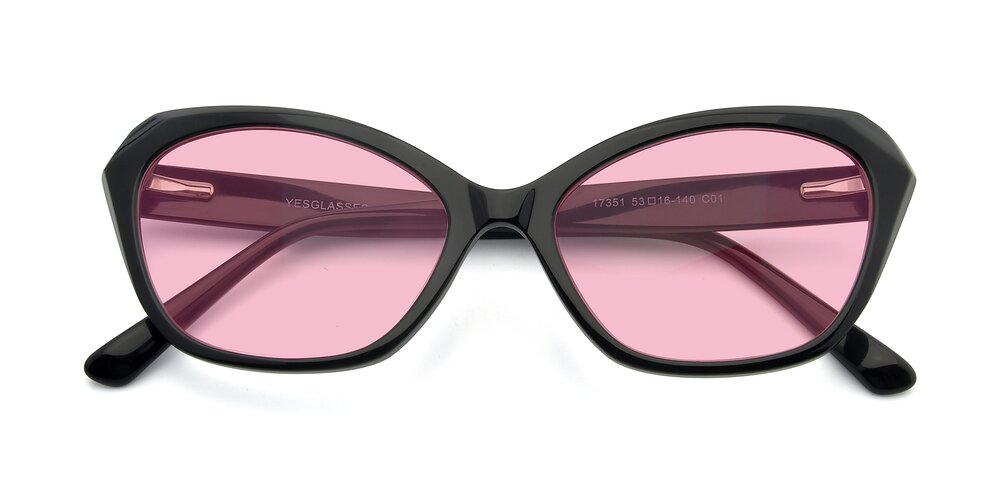 Black Horn-Rimmed Butterfly Geometric Tinted Sunglasses With Medium Pink Sunwear Lenses