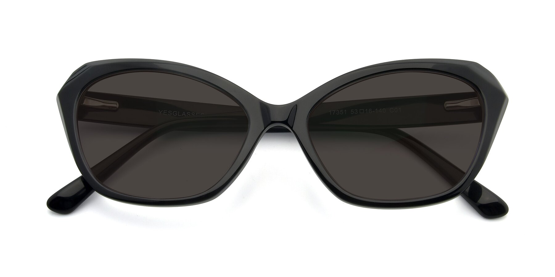Folded Front of 17351 in Black with Gray Tinted Lenses