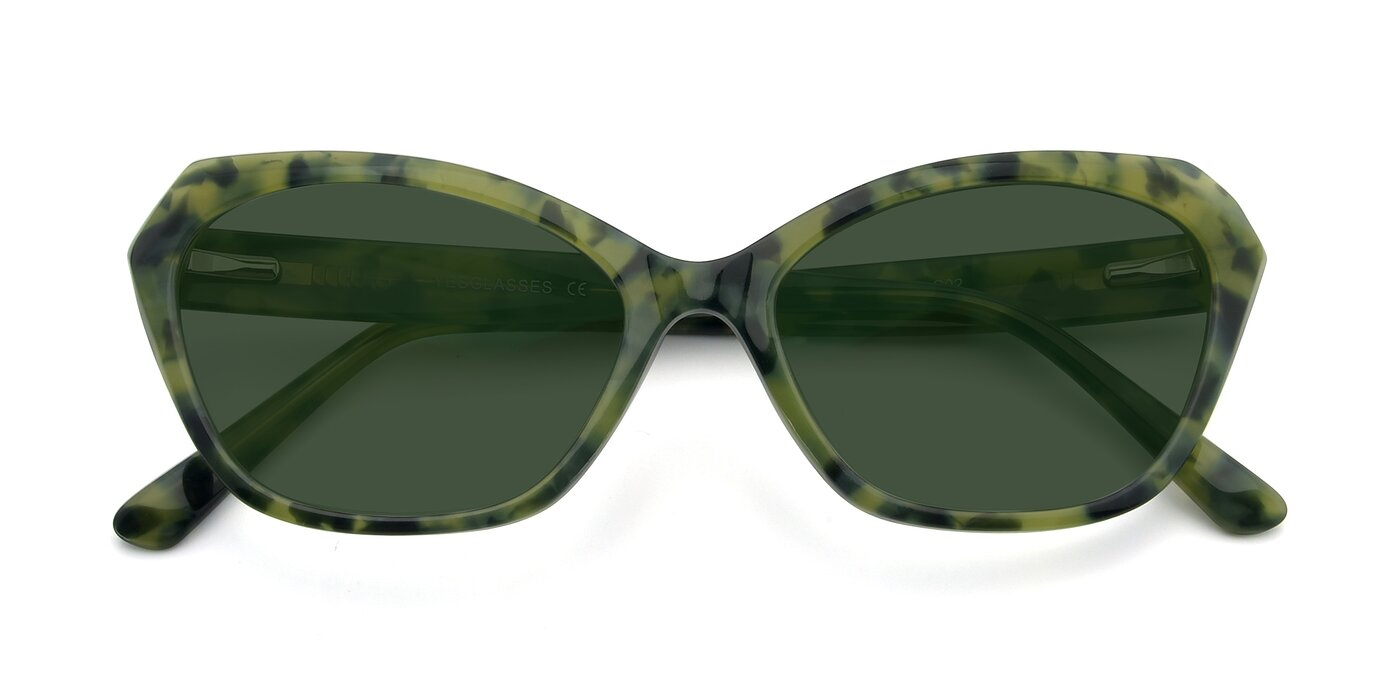 17351 - Floral Green Tinted Sunglasses