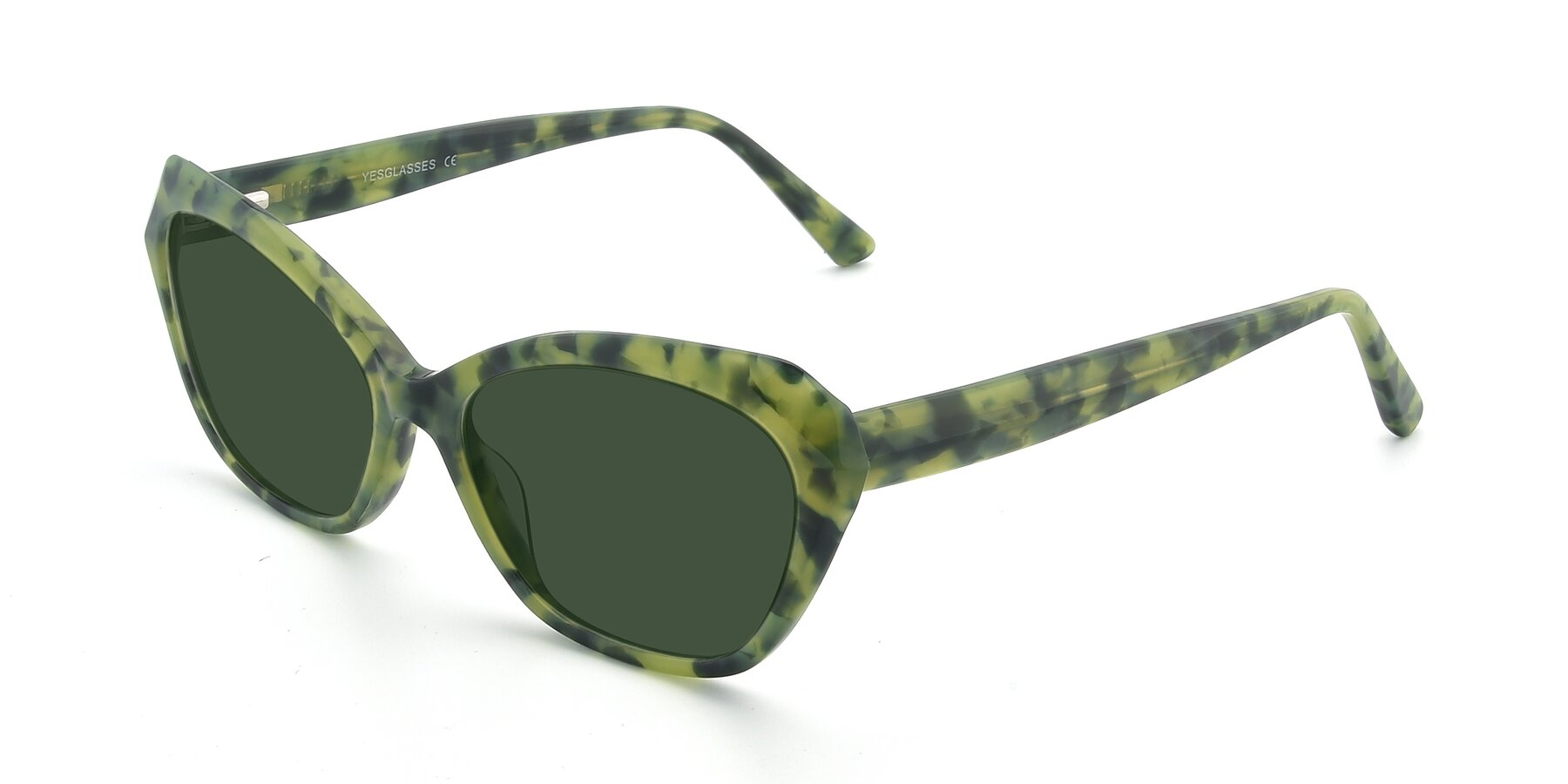 Angle of 17351 in Floral Green with Green Tinted Lenses