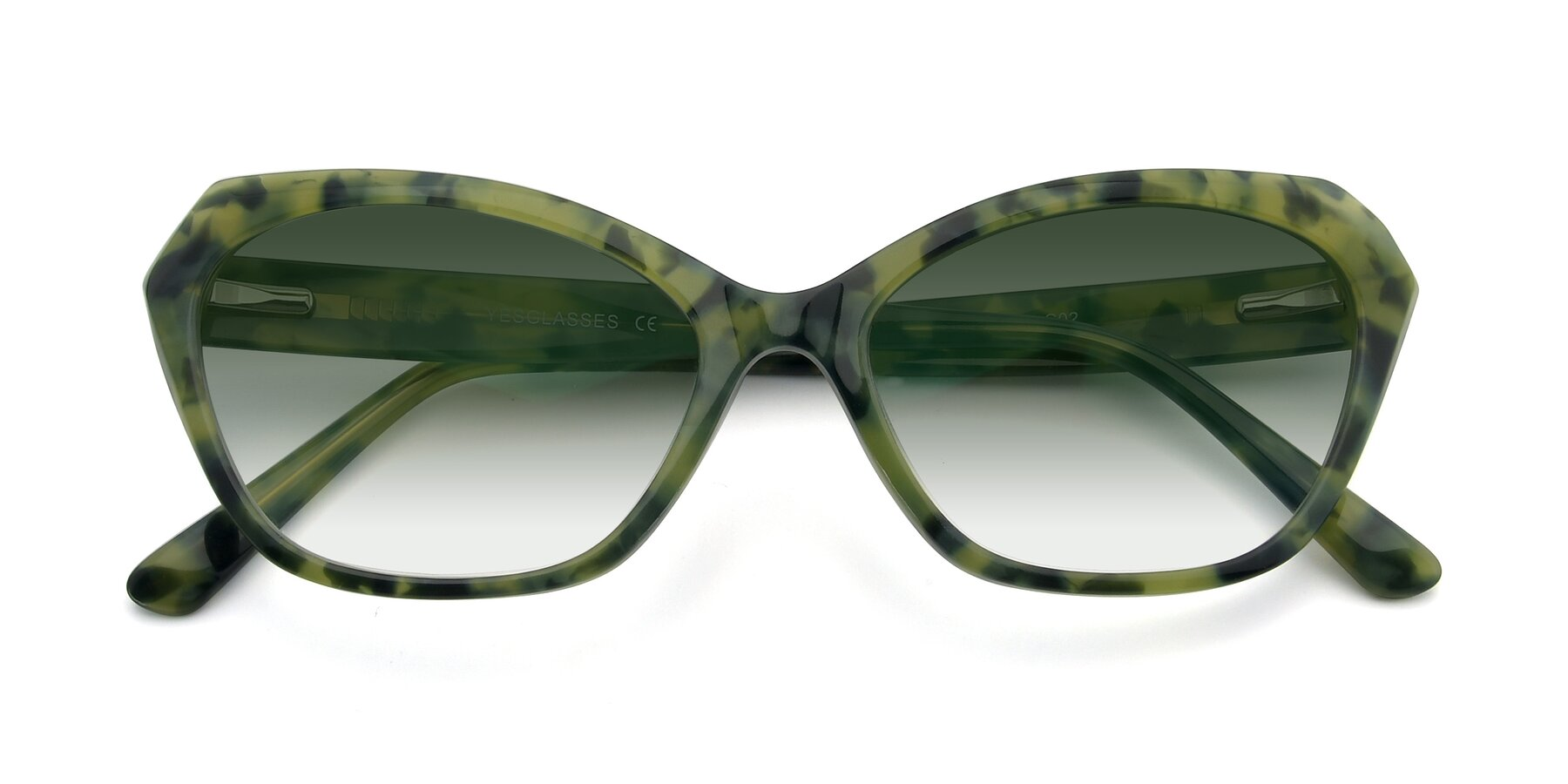 Folded Front of 17351 in Floral Green with Green Gradient Lenses