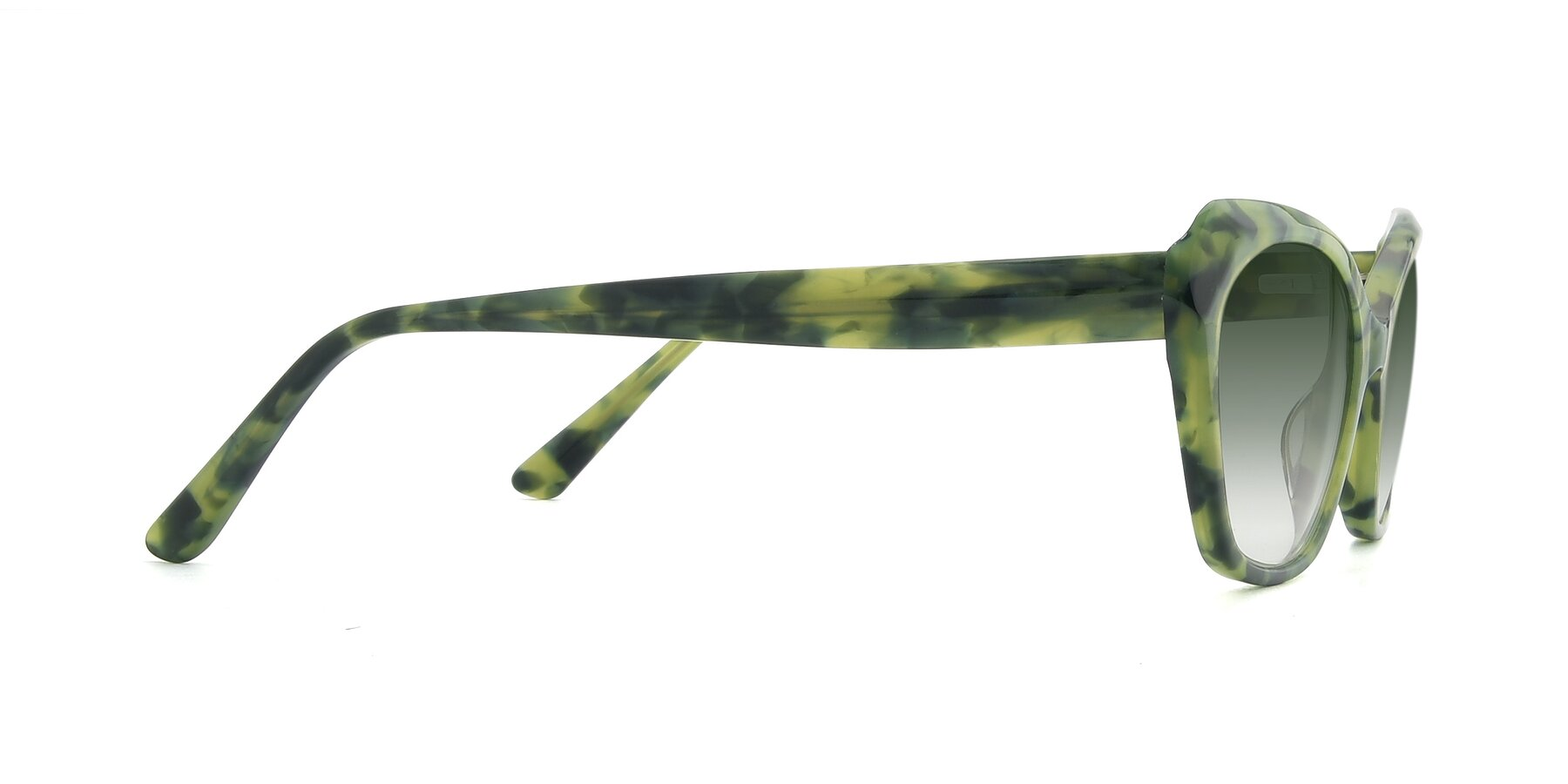 Side of 17351 in Floral Green with Green Gradient Lenses