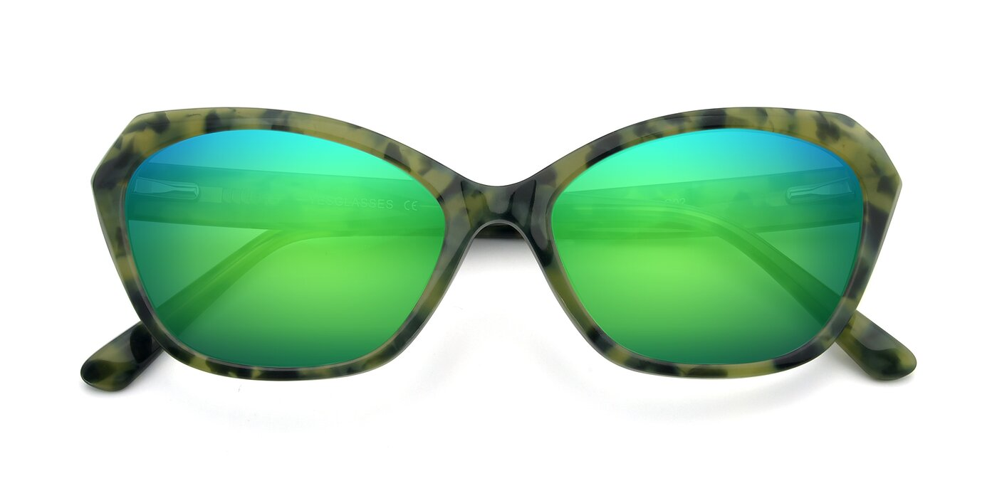 17351 - Floral Green Flash Mirrored Sunglasses