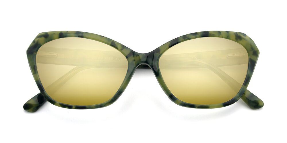 Floral Green Horn-Rimmed Butterfly Geometric Mirrored Sunglasses With Gold Sunwear Lenses