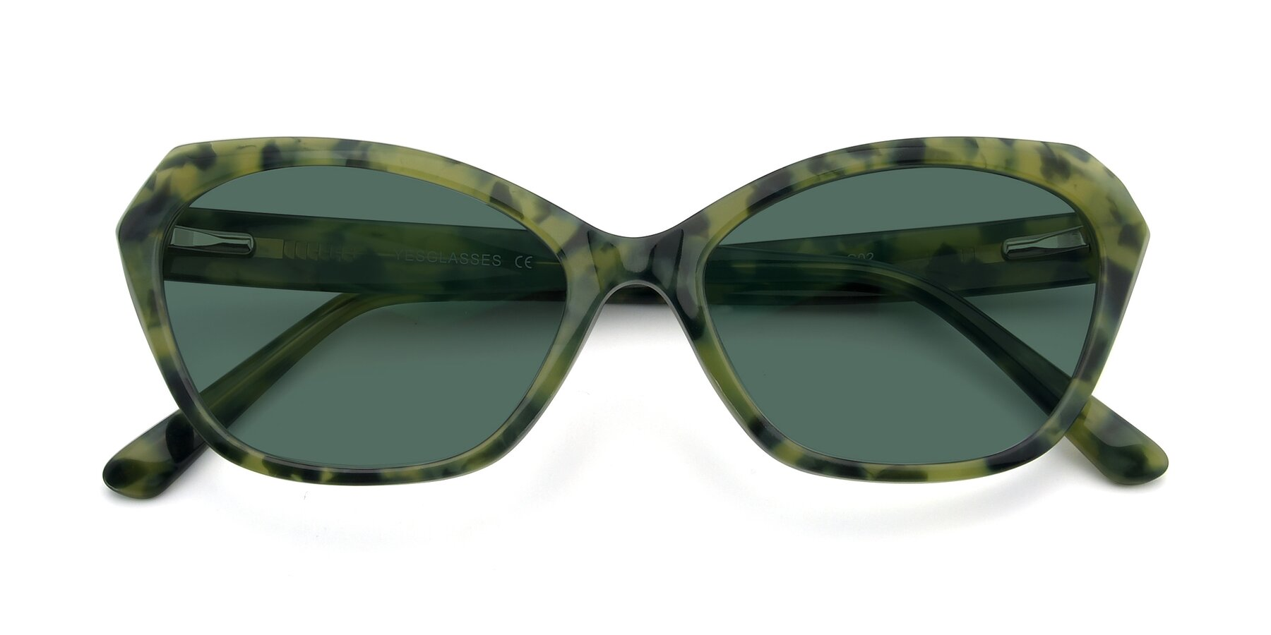 Folded Front of 17351 in Floral Green with Green Polarized Lenses