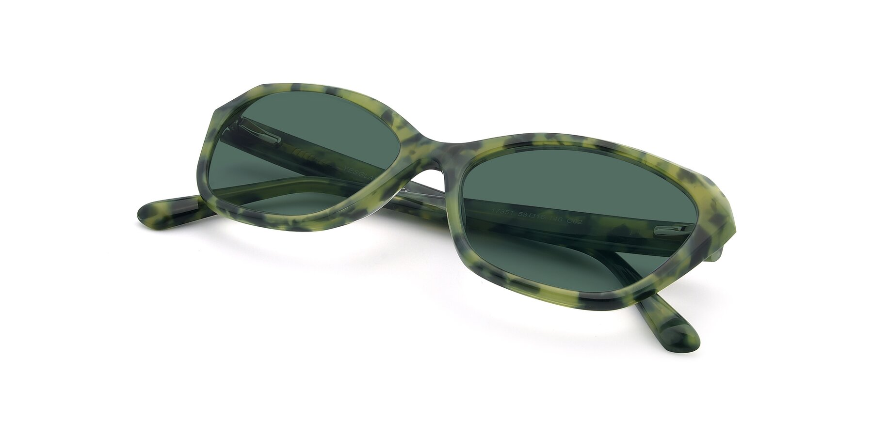 View of 17351 in Floral Green with Green Polarized Lenses