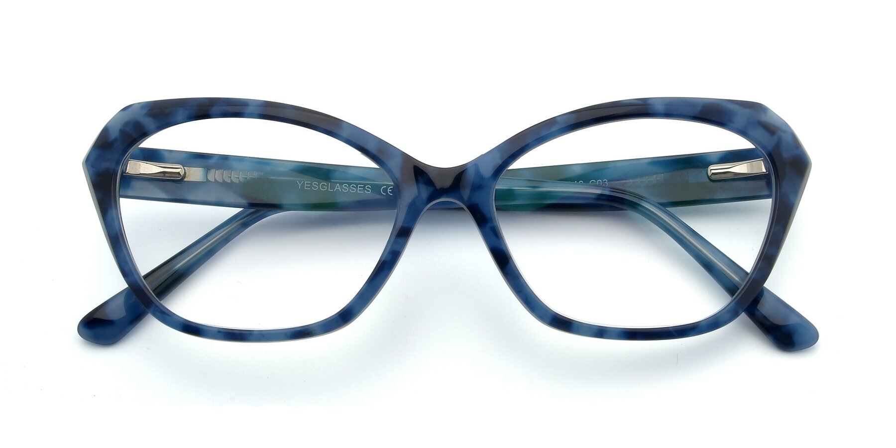 Folded Front of 17351 in Floral Blue with Clear Eyeglass Lenses