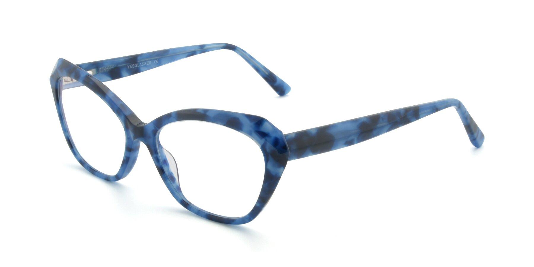 Angle of 17351 in Floral Blue with Clear Eyeglass Lenses