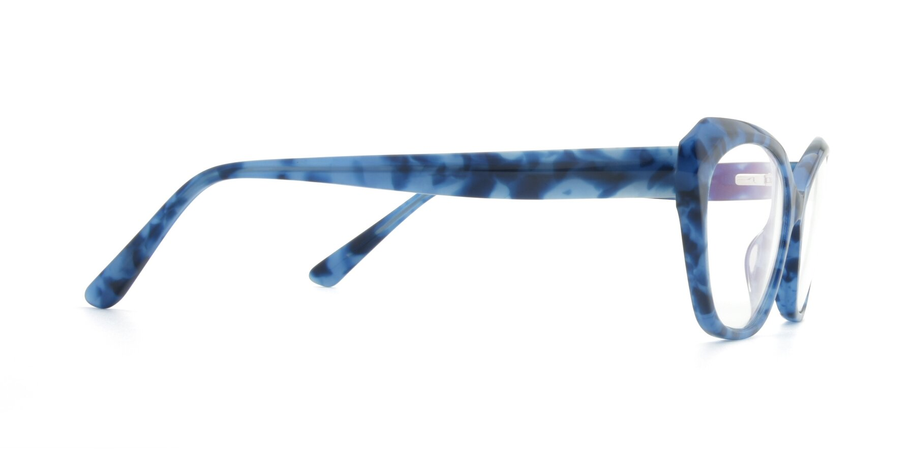 Side of 17351 in Floral Blue with Clear Eyeglass Lenses