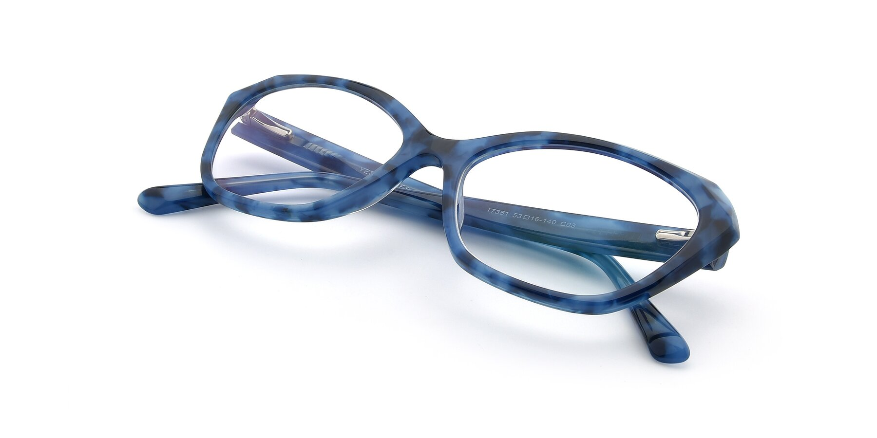 View of 17351 in Floral Blue with Clear Eyeglass Lenses