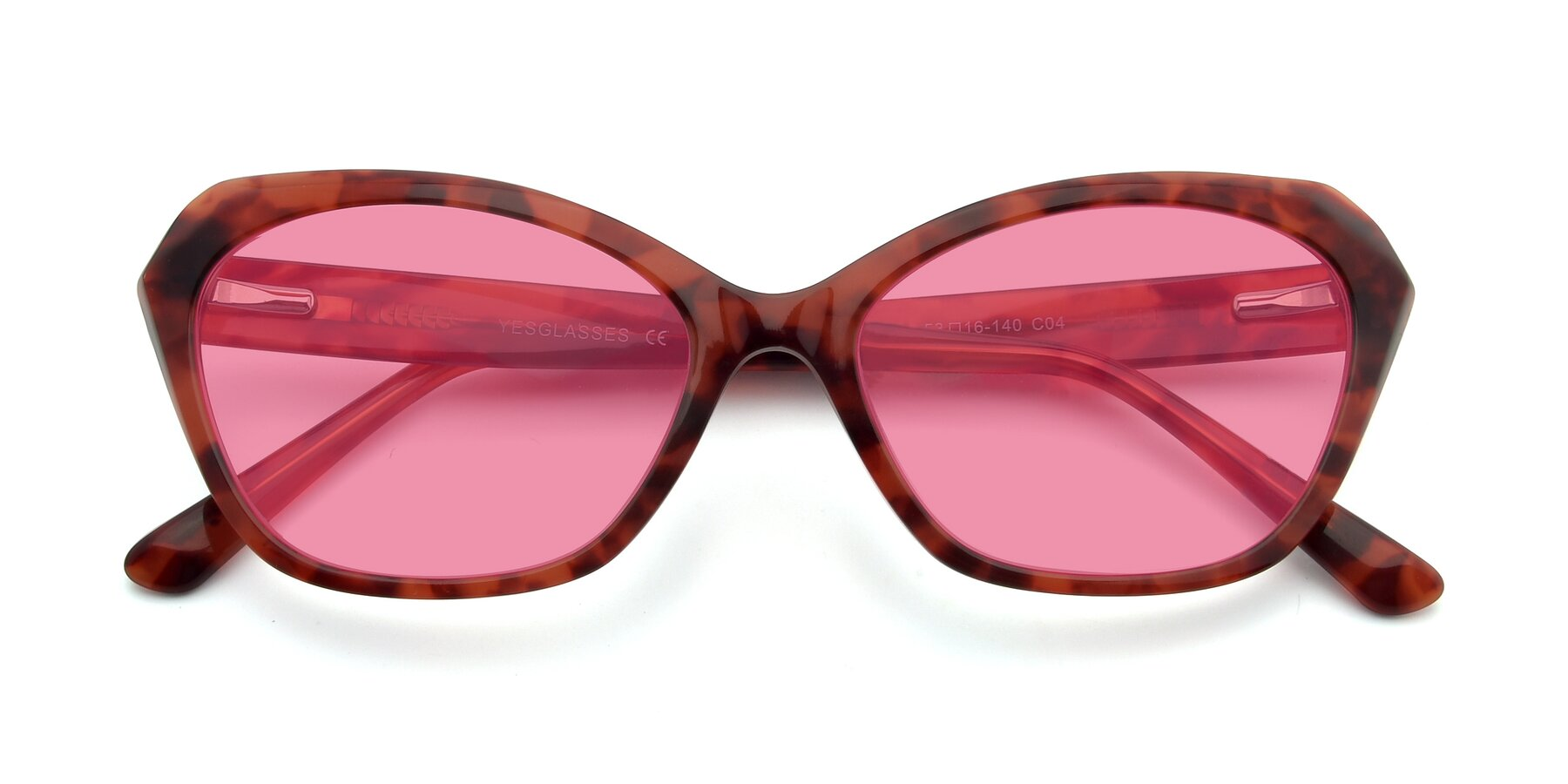 Folded Front of 17351 in Floral Red with Pink Tinted Lenses