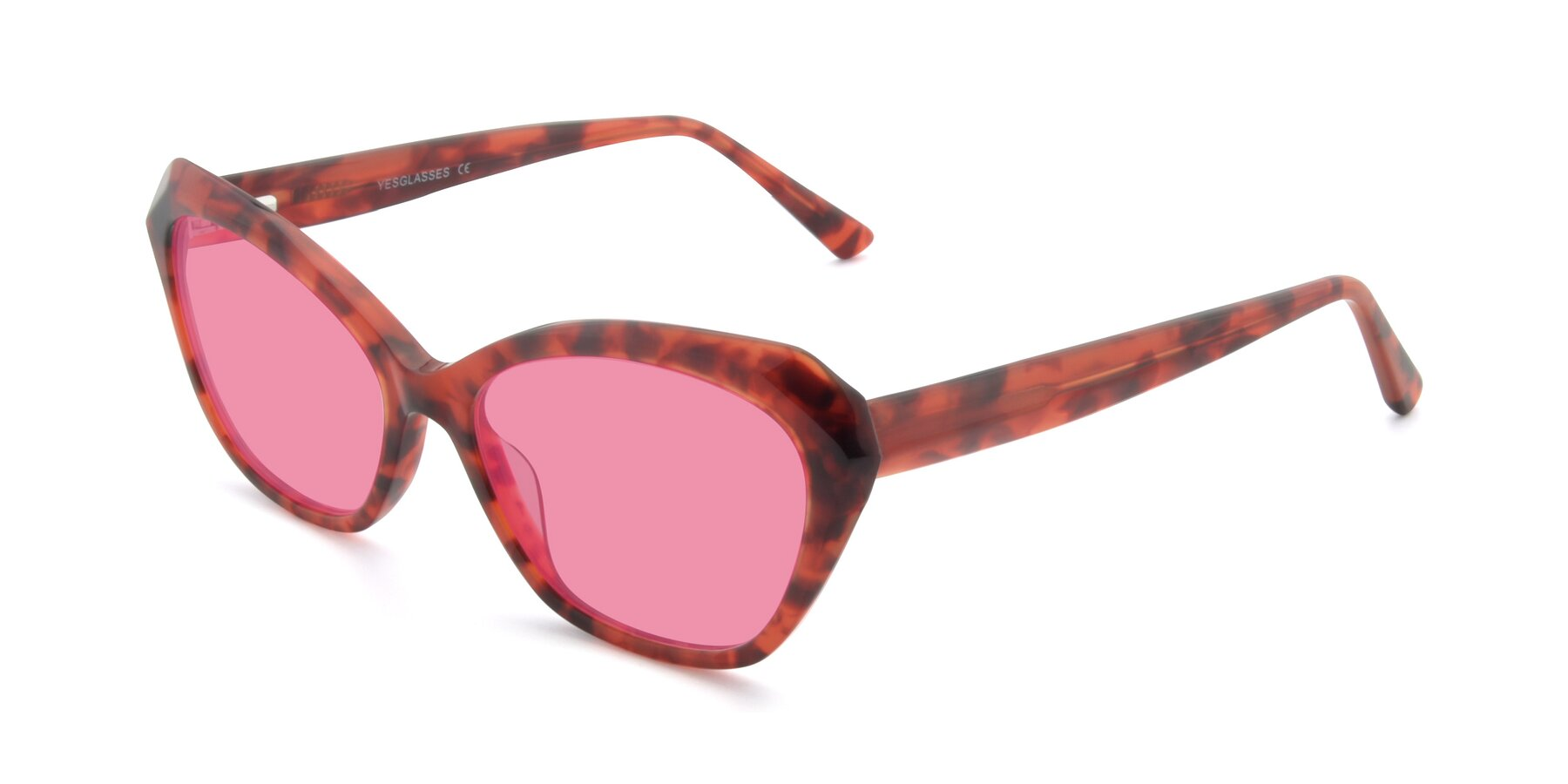 Angle of 17351 in Floral Red with Pink Tinted Lenses