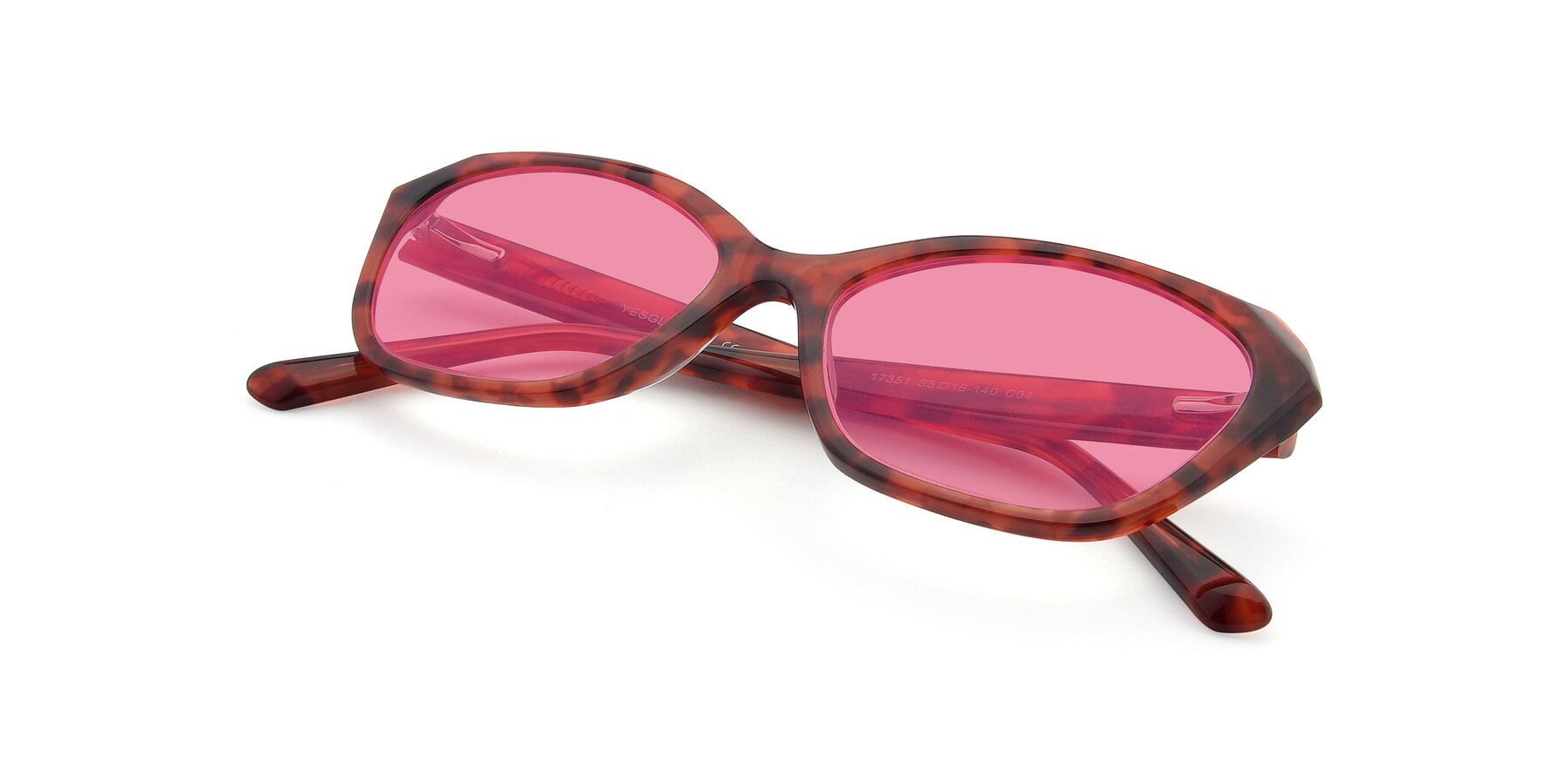 View of 17351 in Floral Red with Pink Tinted Lenses