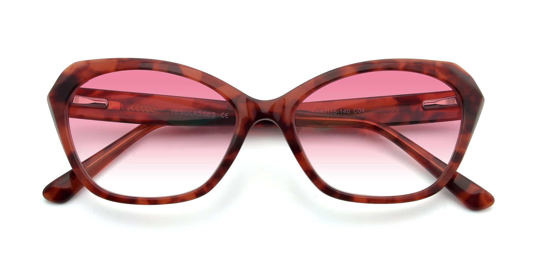 Folded Front of 17351 in Floral Red with Pink Gradient Lenses
