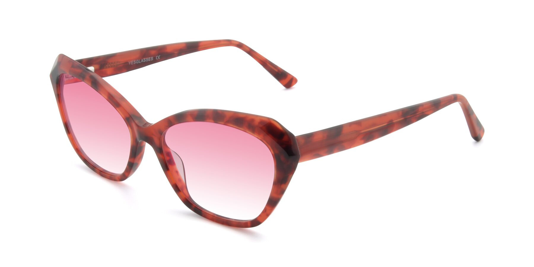 Angle of 17351 in Floral Red with Pink Gradient Lenses